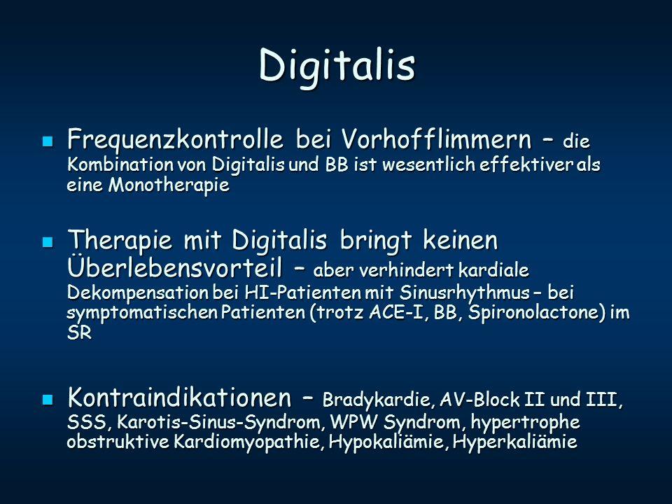 Digitalis Frequenzkontrolle bei Vorhofflimmern – die Kombination von Digitalis und BB ist wesentlich effektiver als eine Monotherapie.