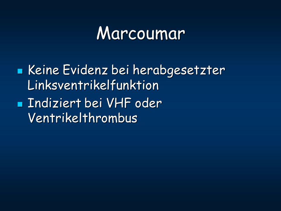 Marcoumar Keine Evidenz bei herabgesetzter Linksventrikelfunktion