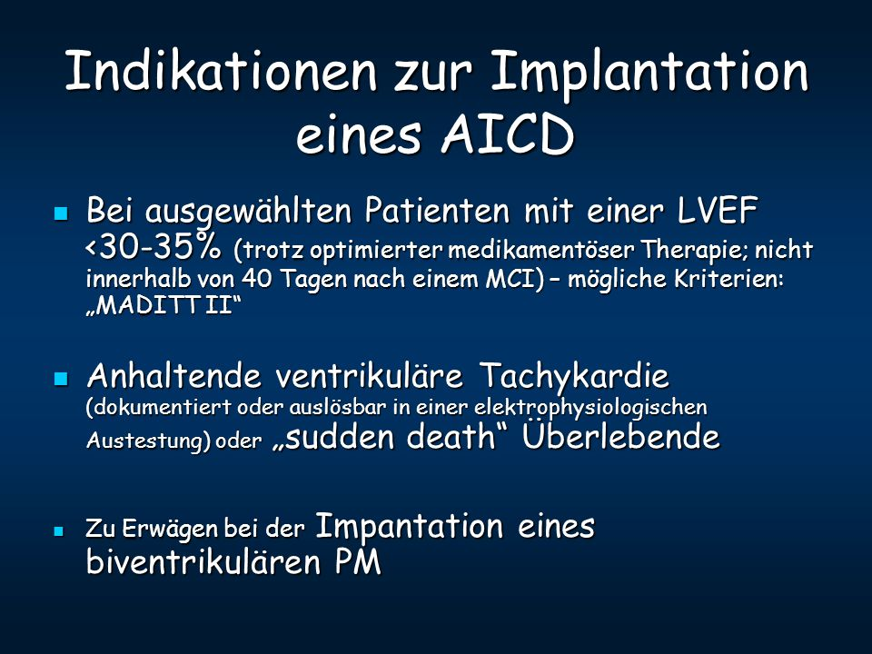 Indikationen zur Implantation eines AICD