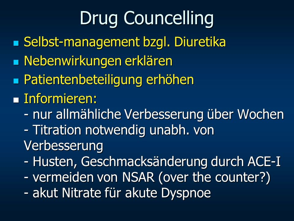 Drug Councelling Selbst-management bzgl. Diuretika