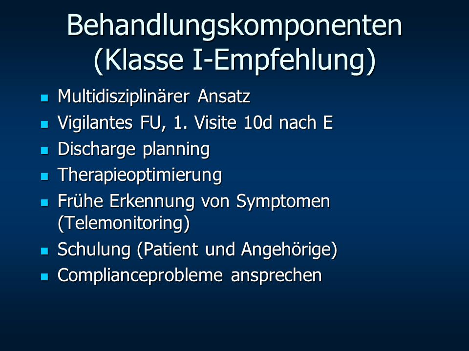 Behandlungskomponenten (Klasse I-Empfehlung)