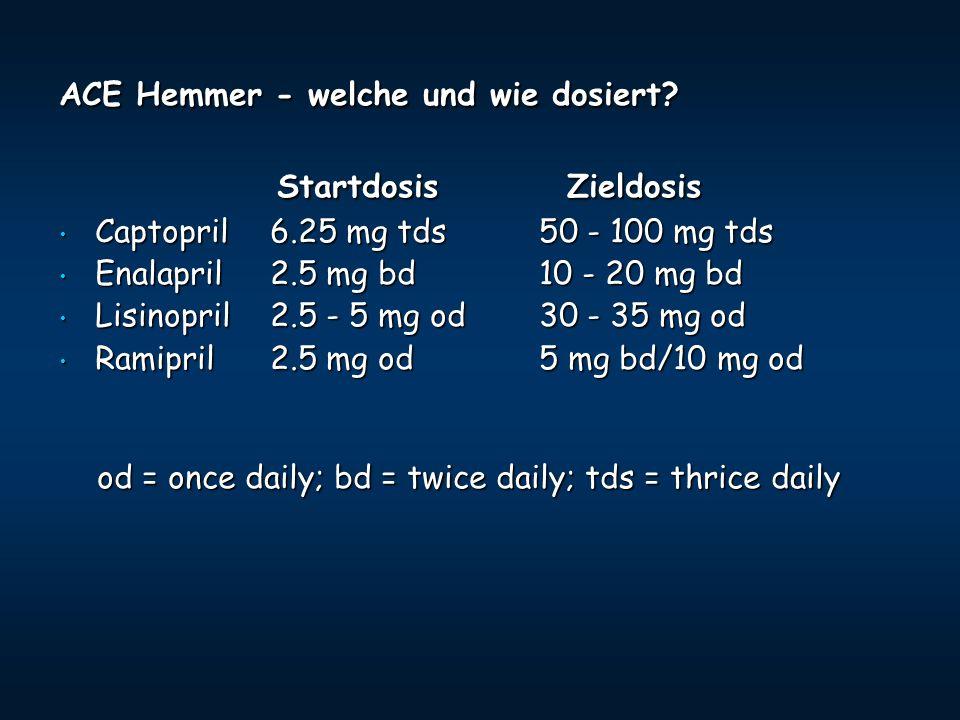 Startdosis Zieldosis ACE Hemmer - welche und wie dosiert