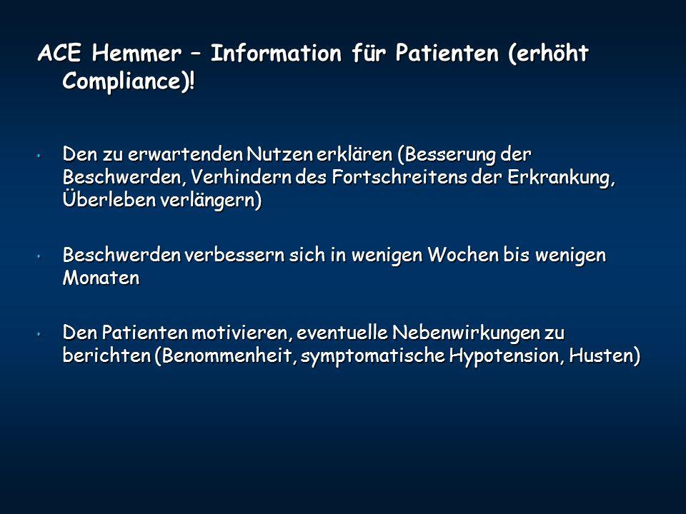 ACE Hemmer – Information für Patienten (erhöht Compliance)!