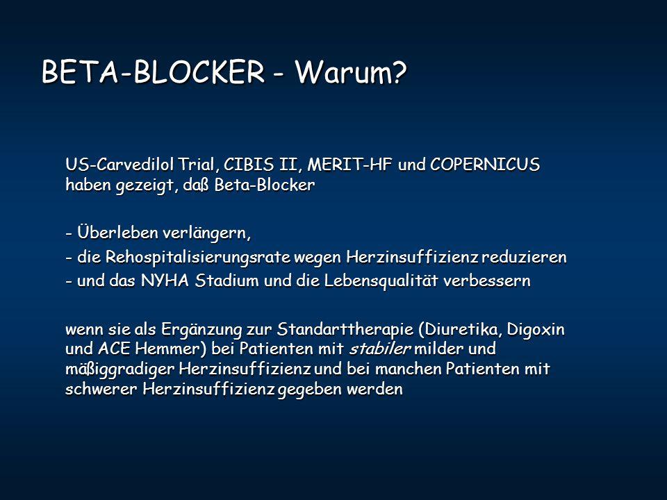 BETA-BLOCKER - Warum US-Carvedilol Trial, CIBIS II, MERIT-HF und COPERNICUS haben gezeigt, daß Beta-Blocker.