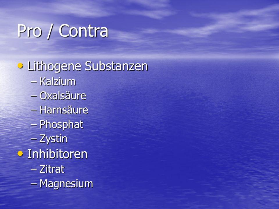 Pro / Contra Lithogene Substanzen Inhibitoren Kalzium Oxalsäure