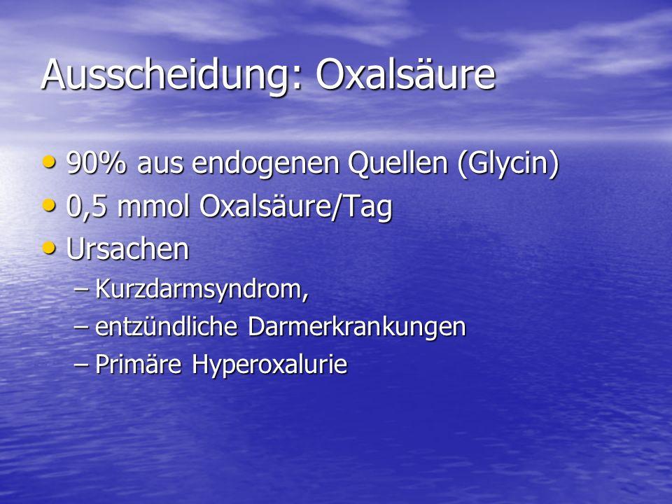 Ausscheidung: Oxalsäure