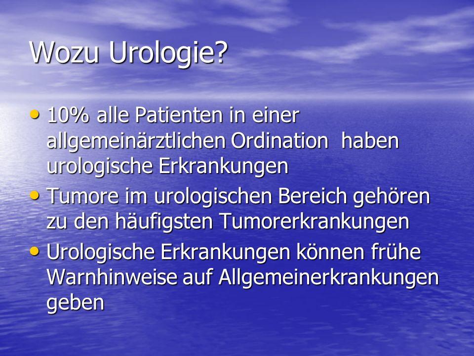 Wozu Urologie 10% alle Patienten in einer allgemeinärztlichen Ordination haben urologische Erkrankungen.