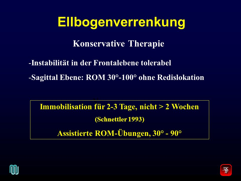 Ellbogenverrenkung Konservative Therapie