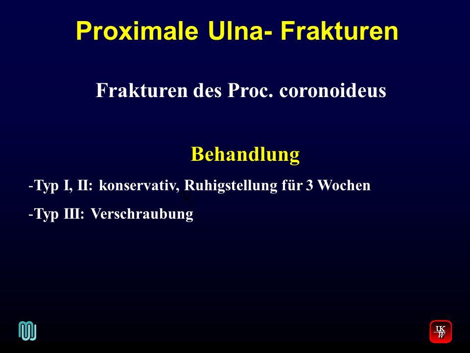 Proximale Ulna- Frakturen Frakturen des Proc. coronoideus