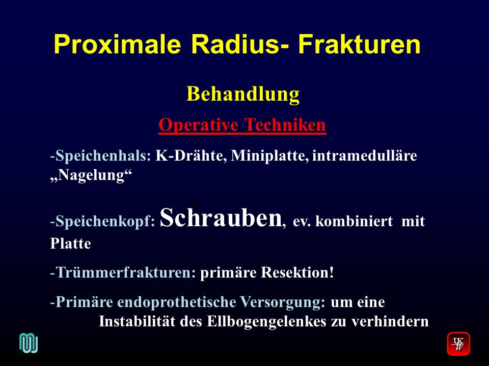 Proximale Radius- Frakturen