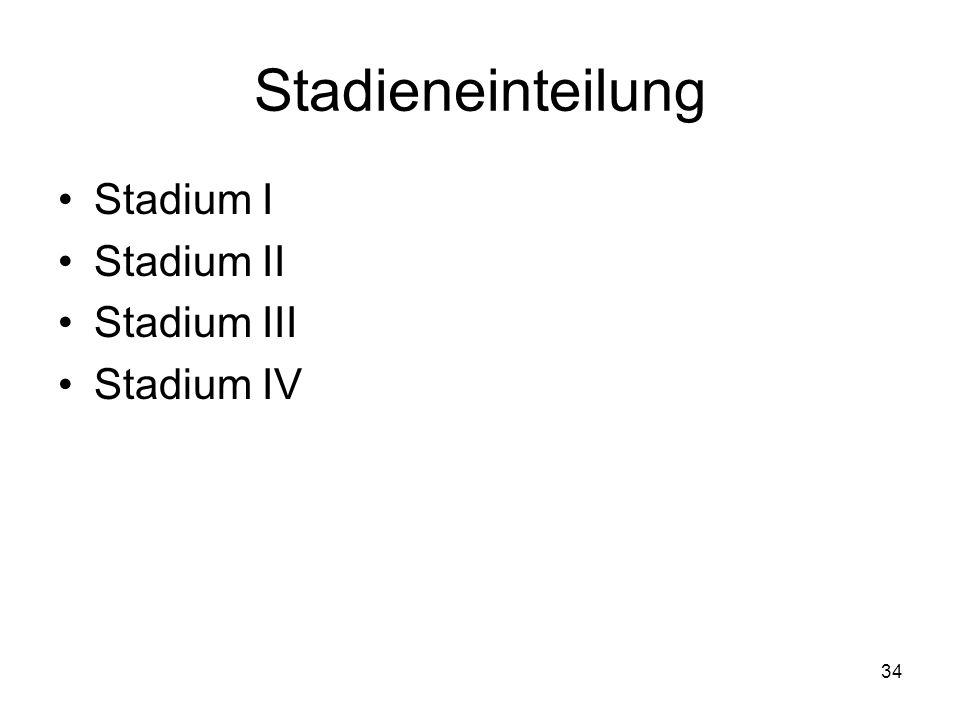 Stadieneinteilung Stadium I Stadium II Stadium III Stadium IV
