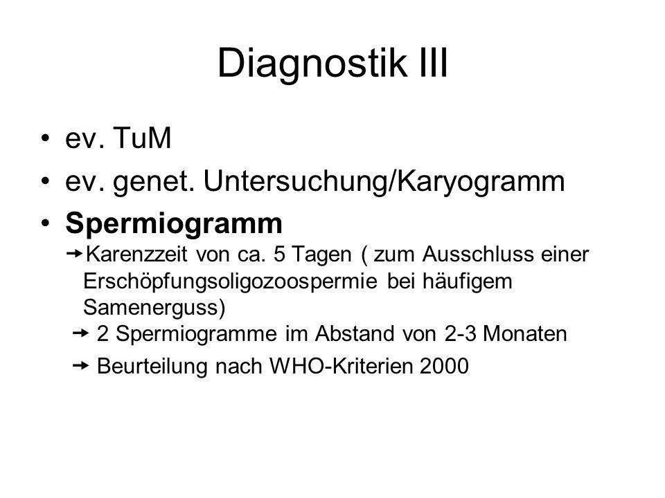 Diagnostik III ev. TuM ev. genet. Untersuchung/Karyogramm