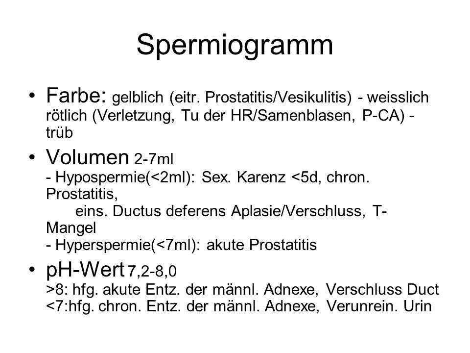 Spermiogramm Farbe: gelblich (eitr. Prostatitis/Vesikulitis) - weisslich rötlich (Verletzung, Tu der HR/Samenblasen, P-CA) - trüb.