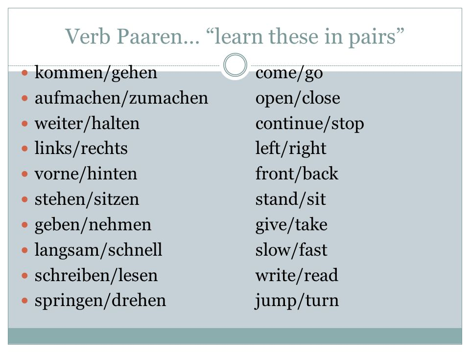 Verb Paaren… learn these in pairs