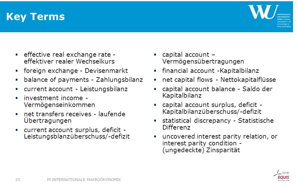 Key Terms effective real exchange rate - effektiver realer Wechselkurs