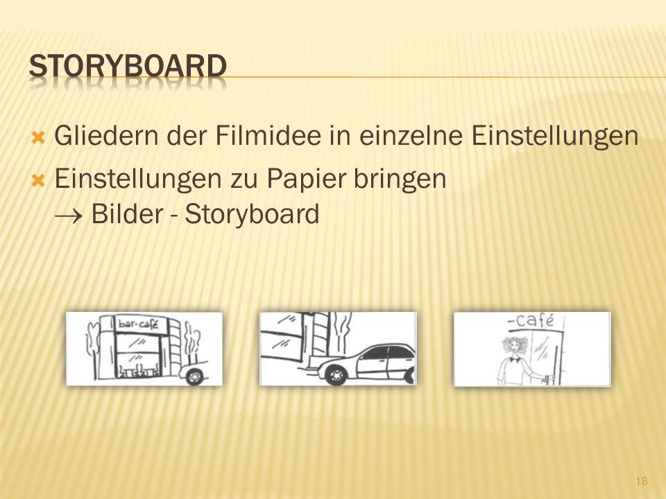 Storyboard Gliedern der Filmidee in einzelne Einstellungen