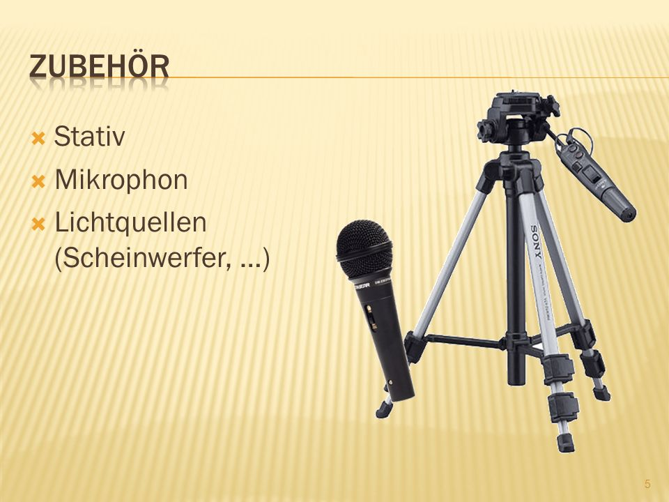 Zubehör Stativ Mikrophon Lichtquellen (Scheinwerfer, …)