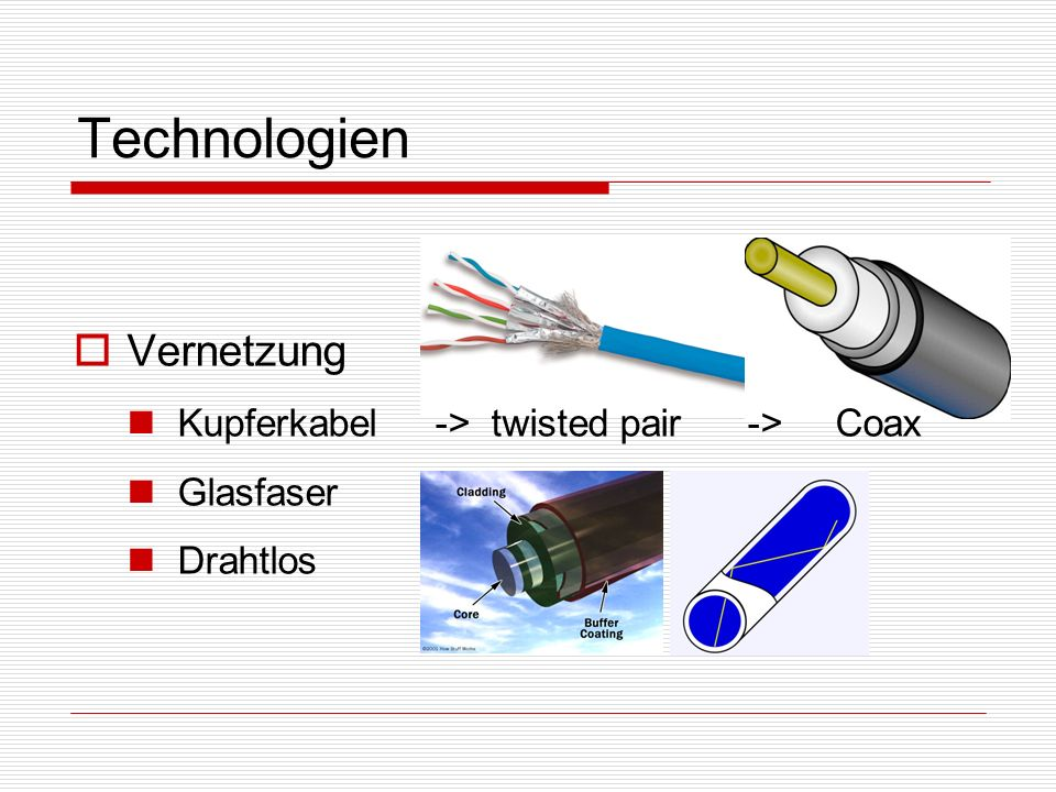 Technologien Vernetzung Kupferkabel -> twisted pair -> Coax