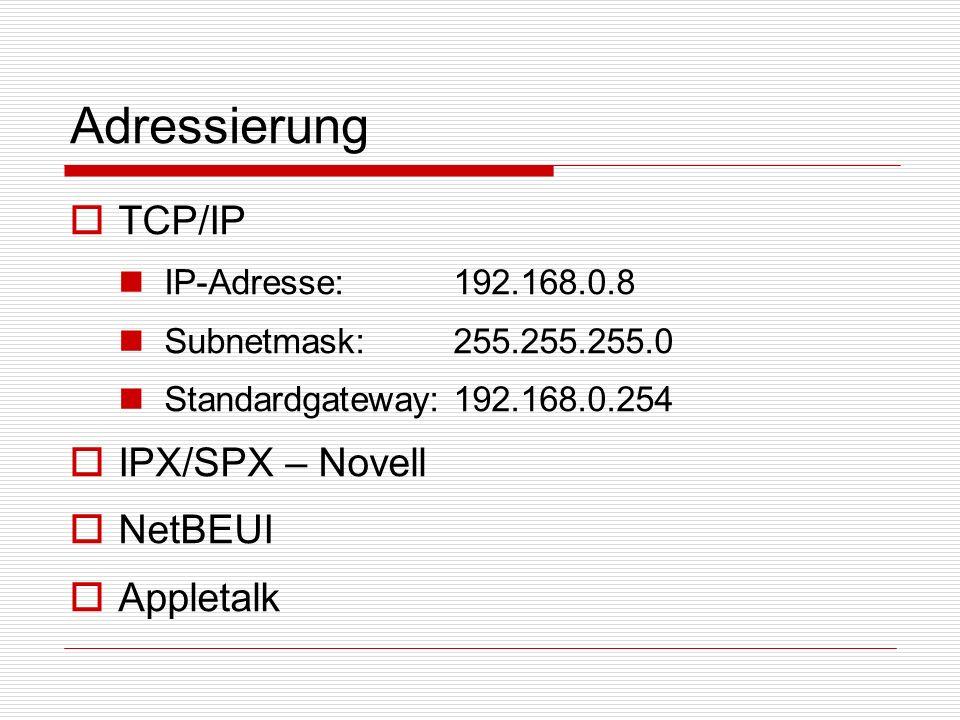 Adressierung TCP/IP IPX/SPX – Novell NetBEUI Appletalk