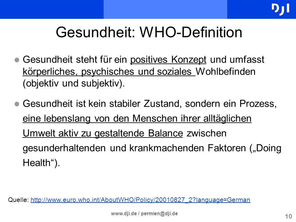 Gesundheit: WHO-Definition