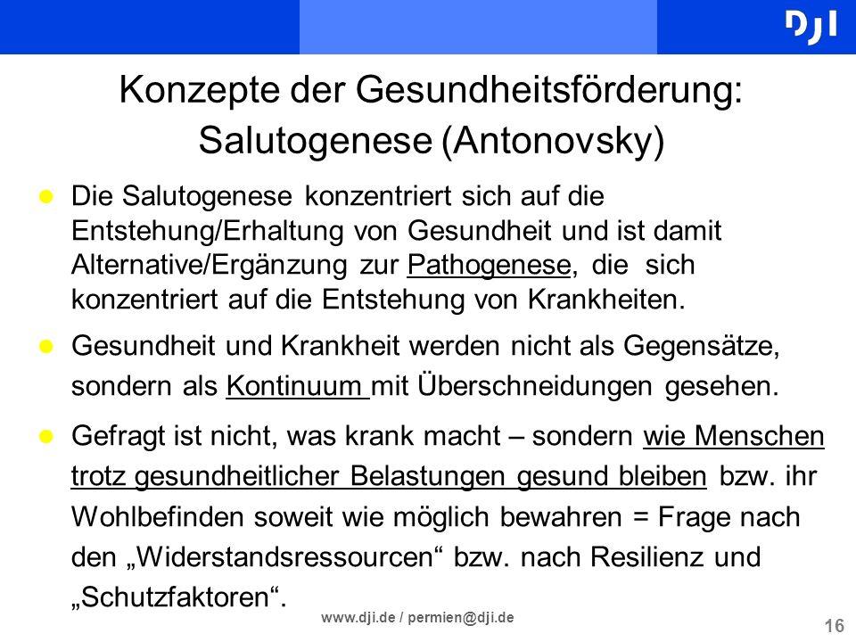 Konzepte der Gesundheitsförderung: Salutogenese (Antonovsky)