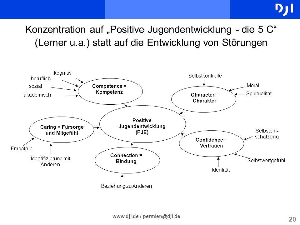 """Konzentration auf """"Positive Jugendentwicklung - die 5 C (Lerner u. a"""
