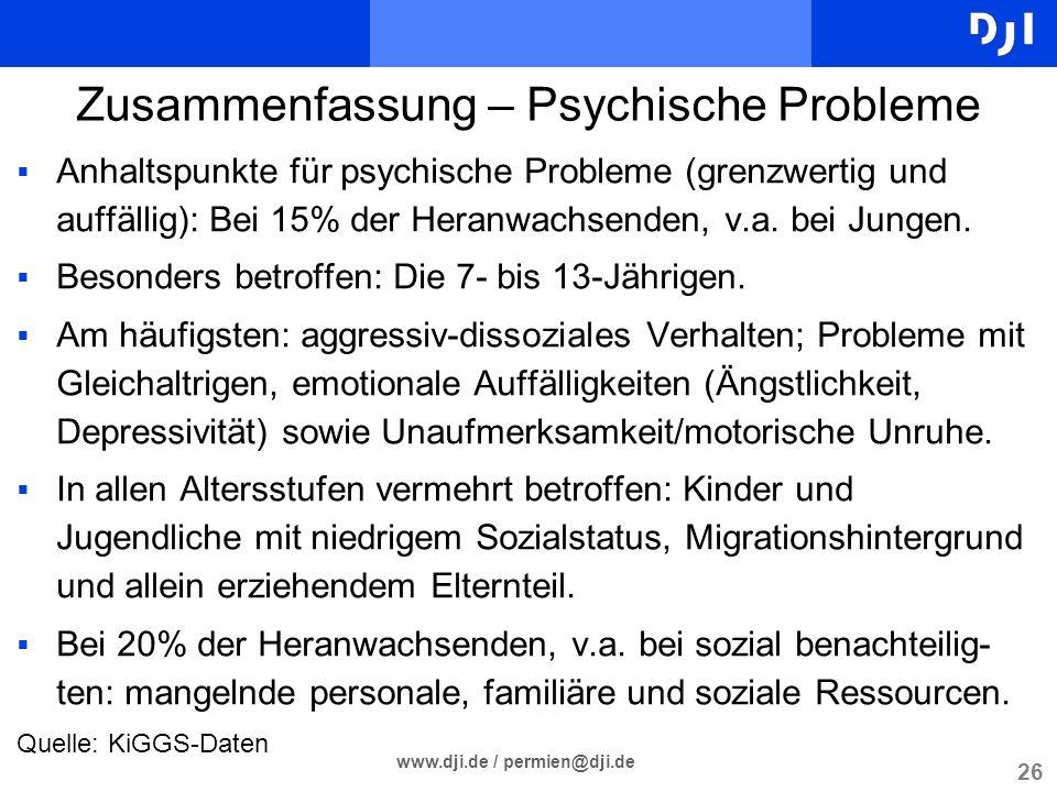 Zusammenfassung – Psychische Probleme