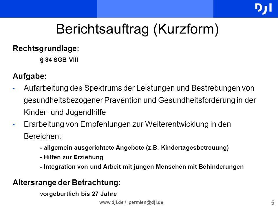 Berichtsauftrag (Kurzform)