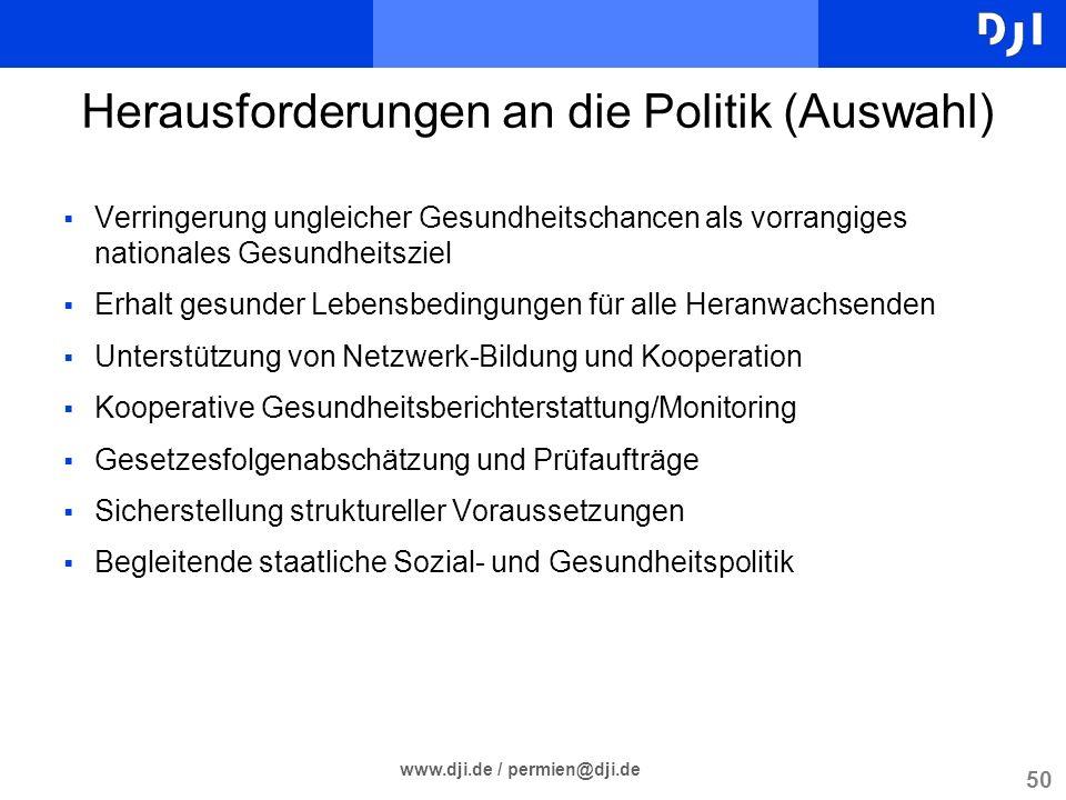 Herausforderungen an die Politik (Auswahl)
