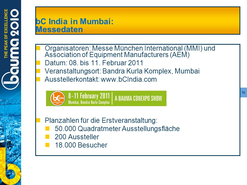 bC India in Mumbai: Messedaten