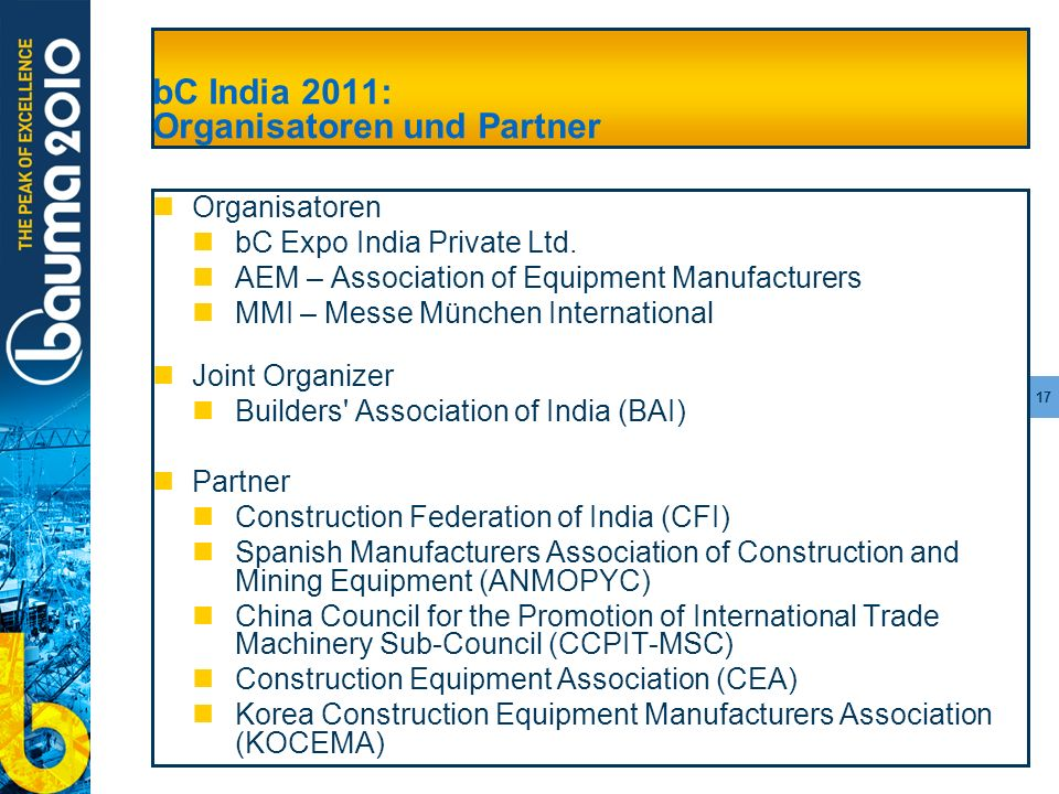 bC India 2011: Organisatoren und Partner