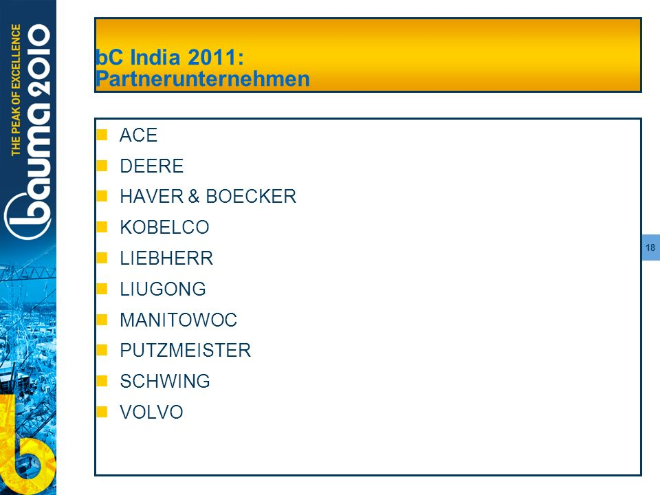 bC India 2011: Partnerunternehmen