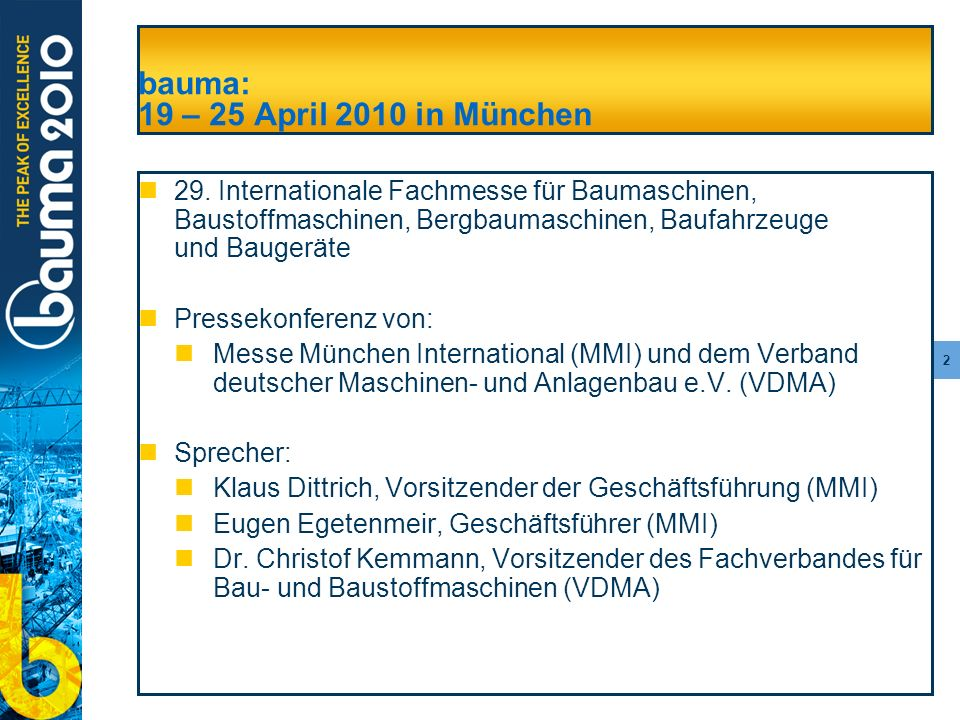 bauma: 19 – 25 April 2010 in München