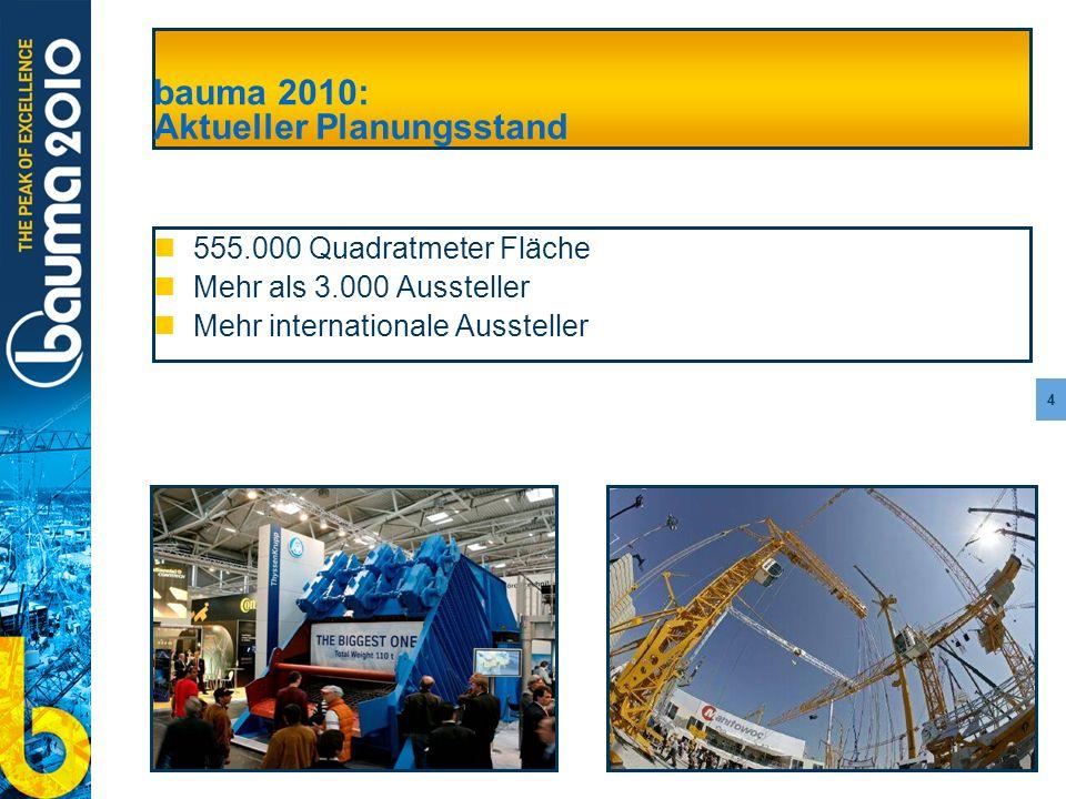 bauma 2010: Aktueller Planungsstand