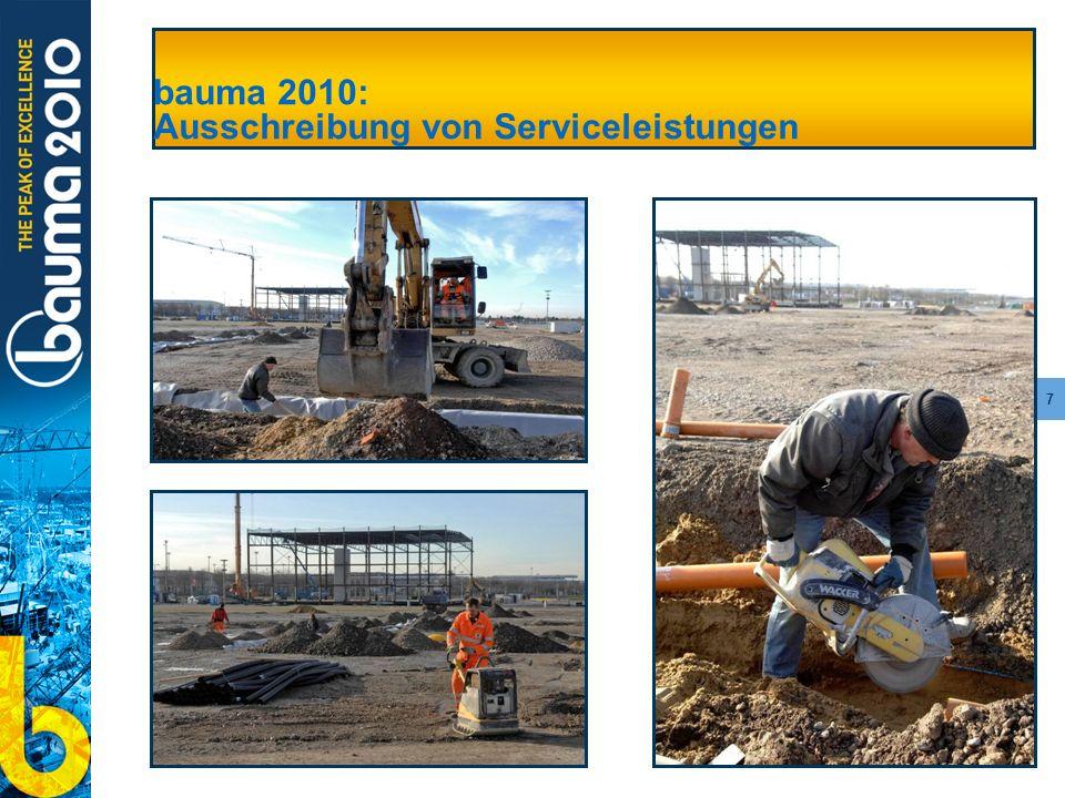 bauma 2010: Ausschreibung von Serviceleistungen