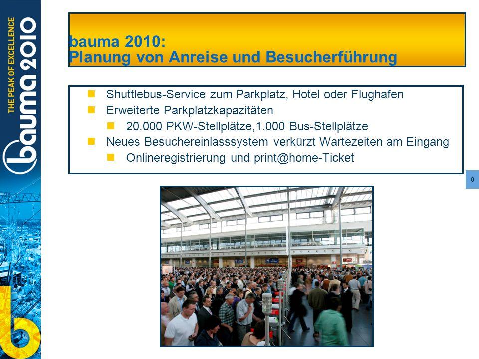 bauma 2010: Planung von Anreise und Besucherführung