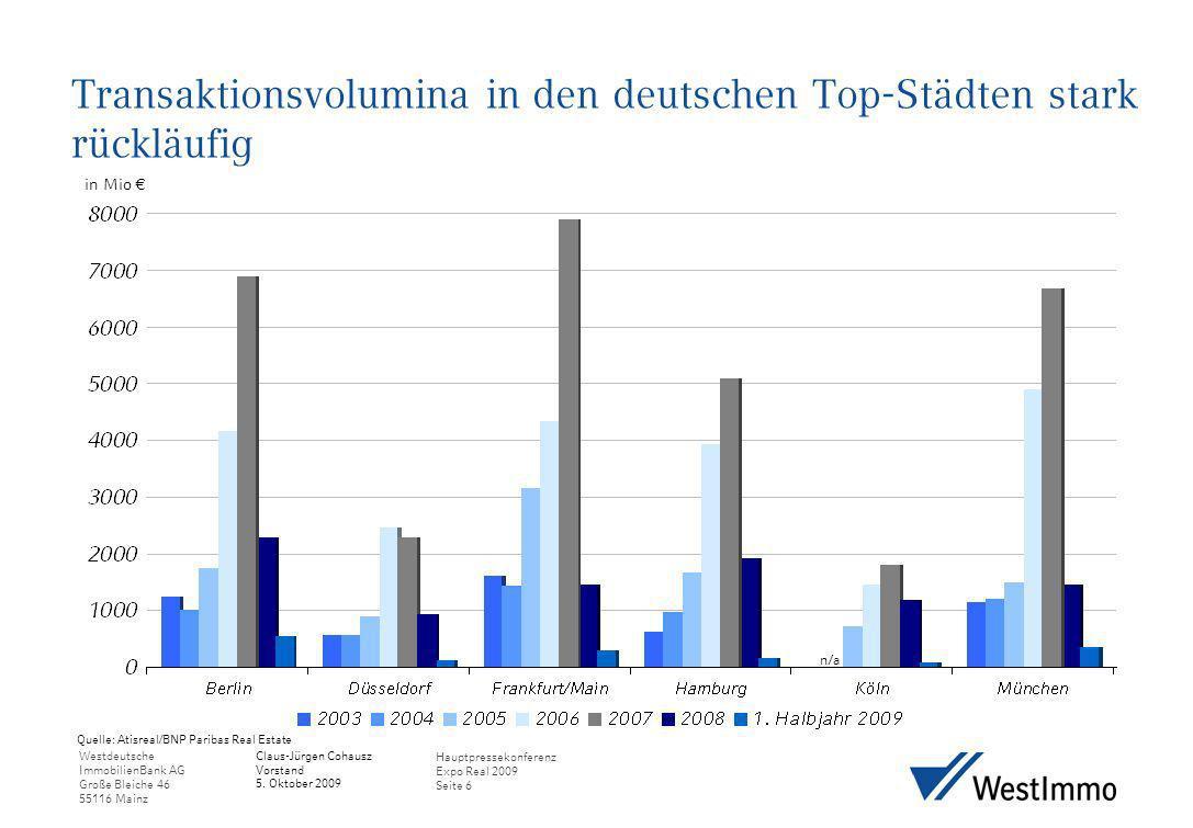 Transaktionsvolumina in den deutschen Top-Städten stark rückläufig