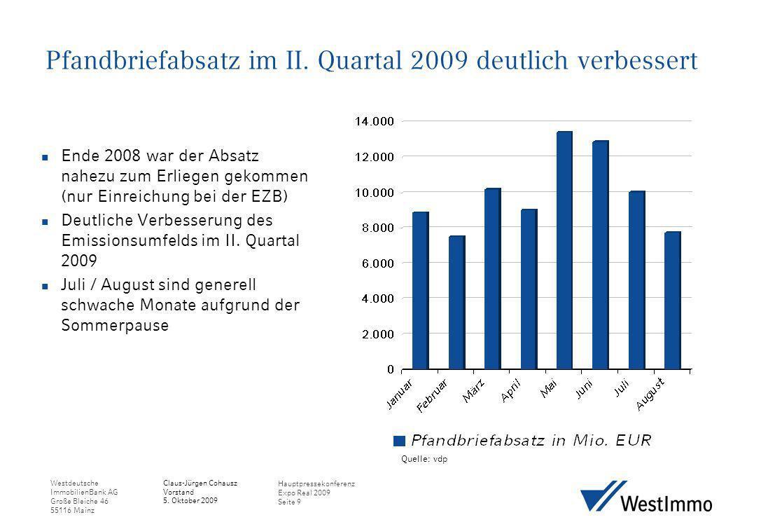 Pfandbriefabsatz im II. Quartal 2009 deutlich verbessert