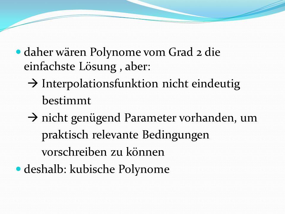 daher wären Polynome vom Grad 2 die einfachste Lösung , aber: