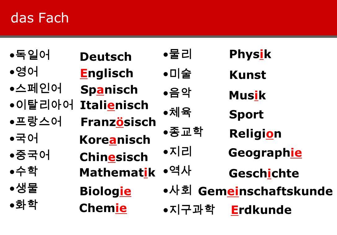 das Fach 물리 미술 음악 체육 종교학 지리 역사 사회 지구과학 Physik 독일어 영어 스페인어 이탈리아어 프랑스어