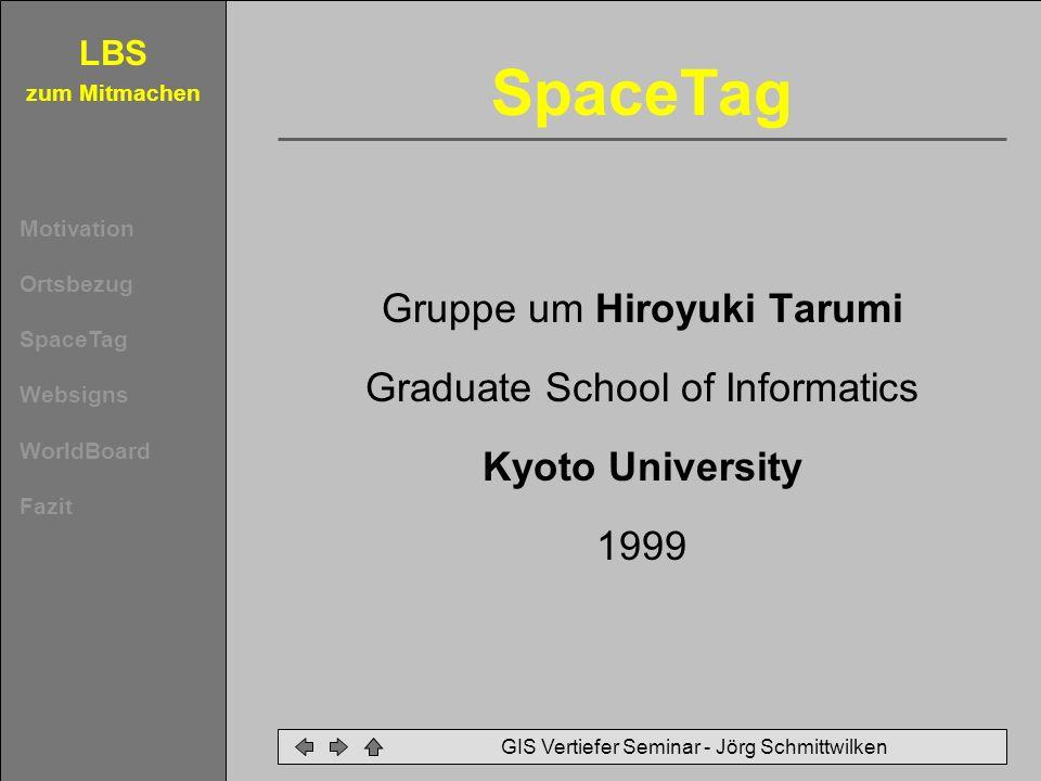 SpaceTag Gruppe um Hiroyuki Tarumi Graduate School of Informatics