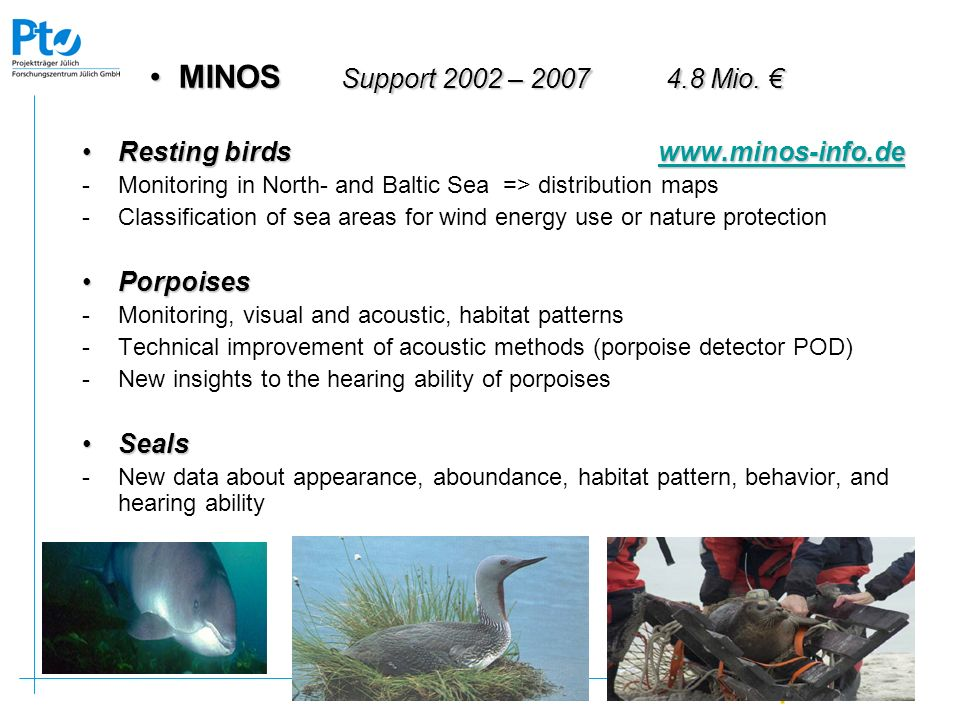 MINOS Support 2002 – 2007 4.8 Mio. € Resting birds www.minos-info.de