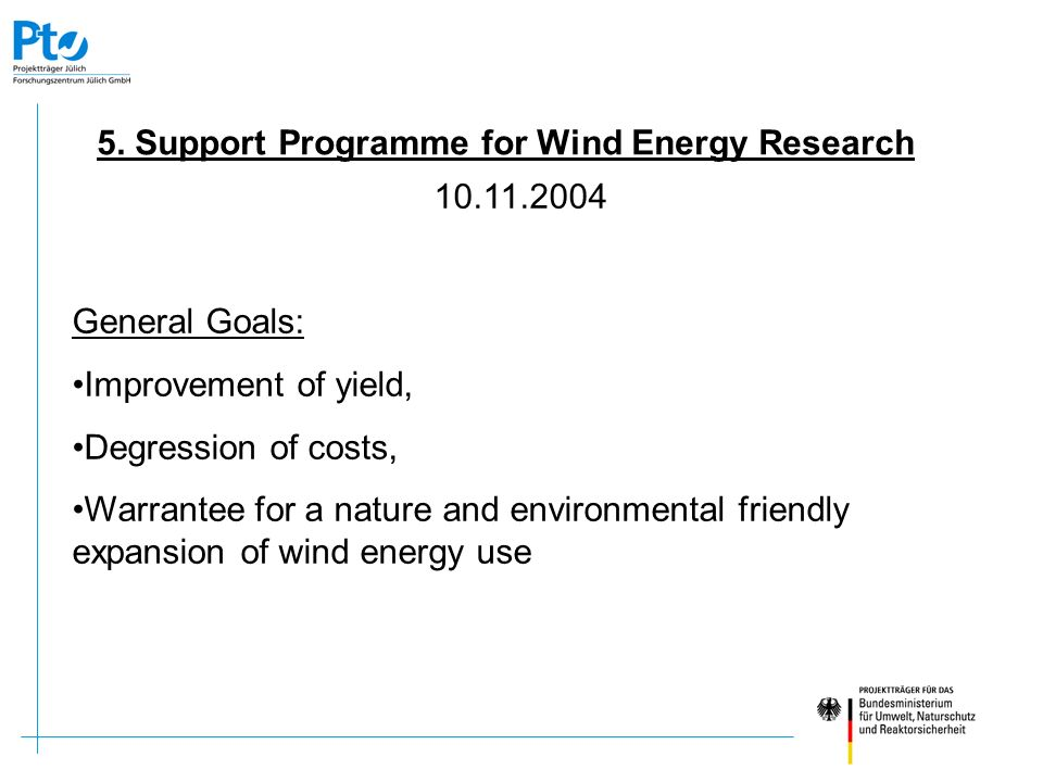 5. Support Programme for Wind Energy Research