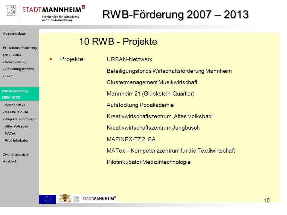 RWB-Förderung 2007 – 2013 10 RWB - Projekte Projekte: URBAN-Netzwerk