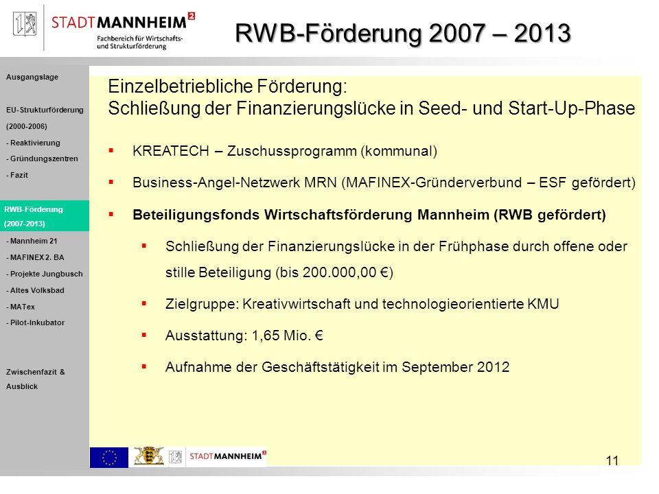 RWB-Förderung 2007 – 2013 Einzelbetriebliche Förderung: