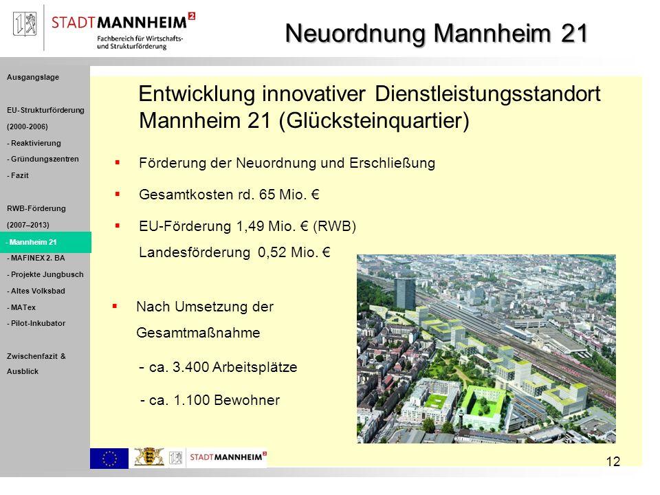 Neuordnung Mannheim 21 Ausgangslage. EU-Strukturförderung. (2000-2006) - Reaktivierung. - Gründungszentren.