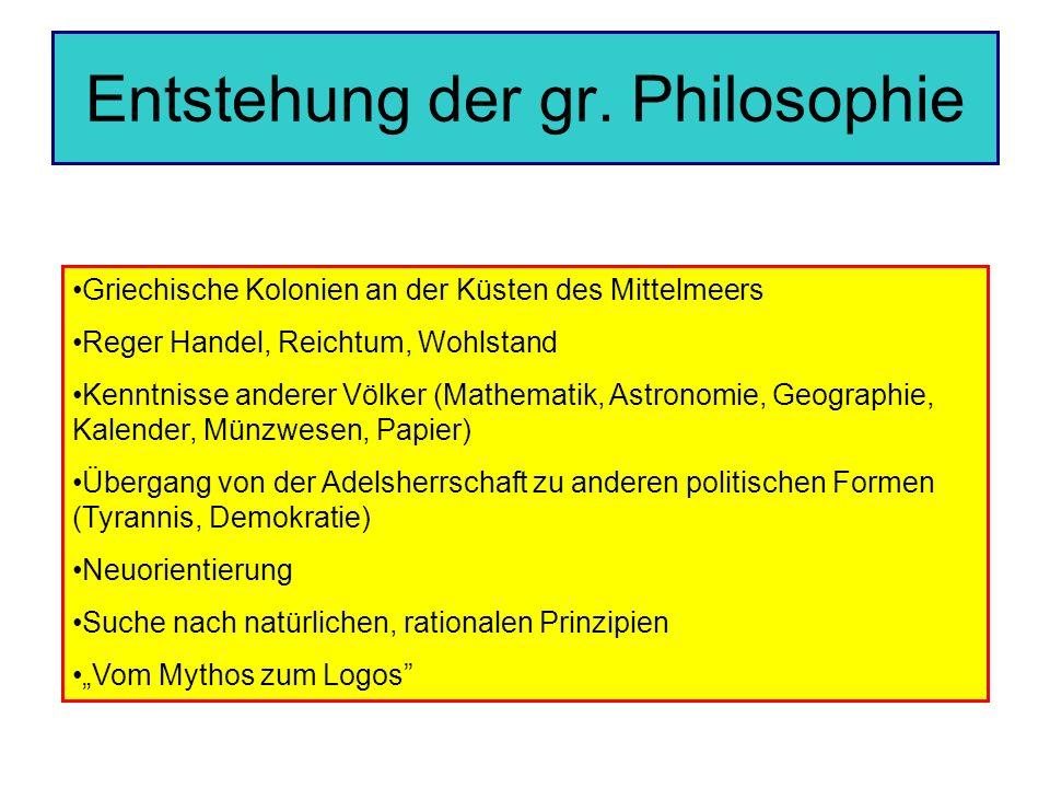 Entstehung der gr. Philosophie