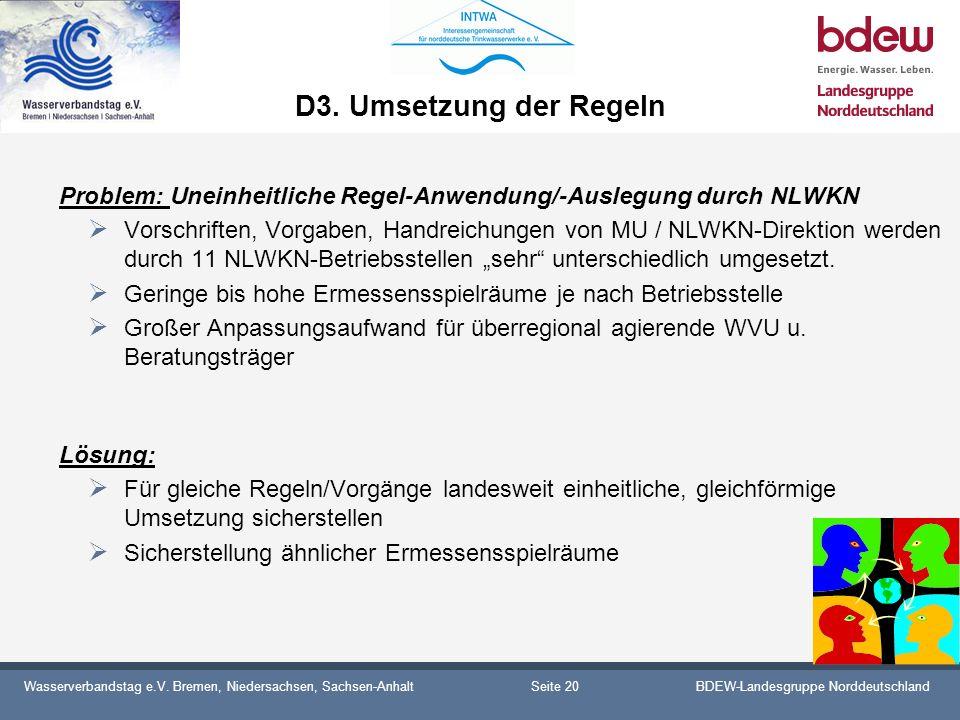 D3. Umsetzung der Regeln Problem: Uneinheitliche Regel-Anwendung/-Auslegung durch NLWKN.
