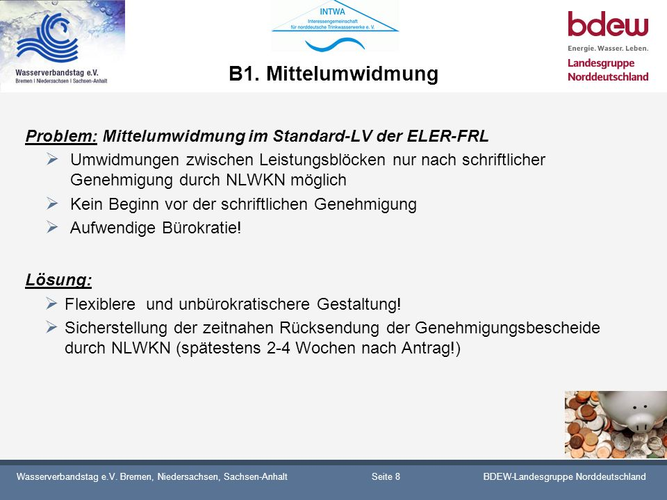 B1. Mittelumwidmung Problem: Mittelumwidmung im Standard-LV der ELER-FRL.