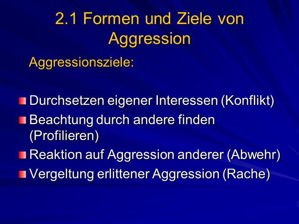 2.1 Formen und Ziele von Aggression